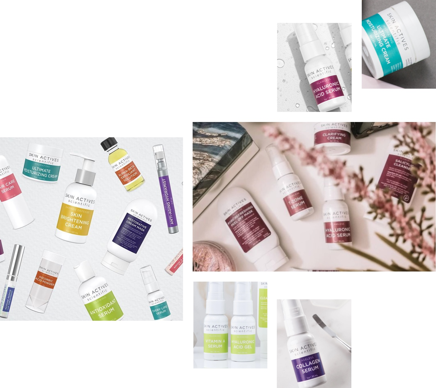 Collage of skincare products