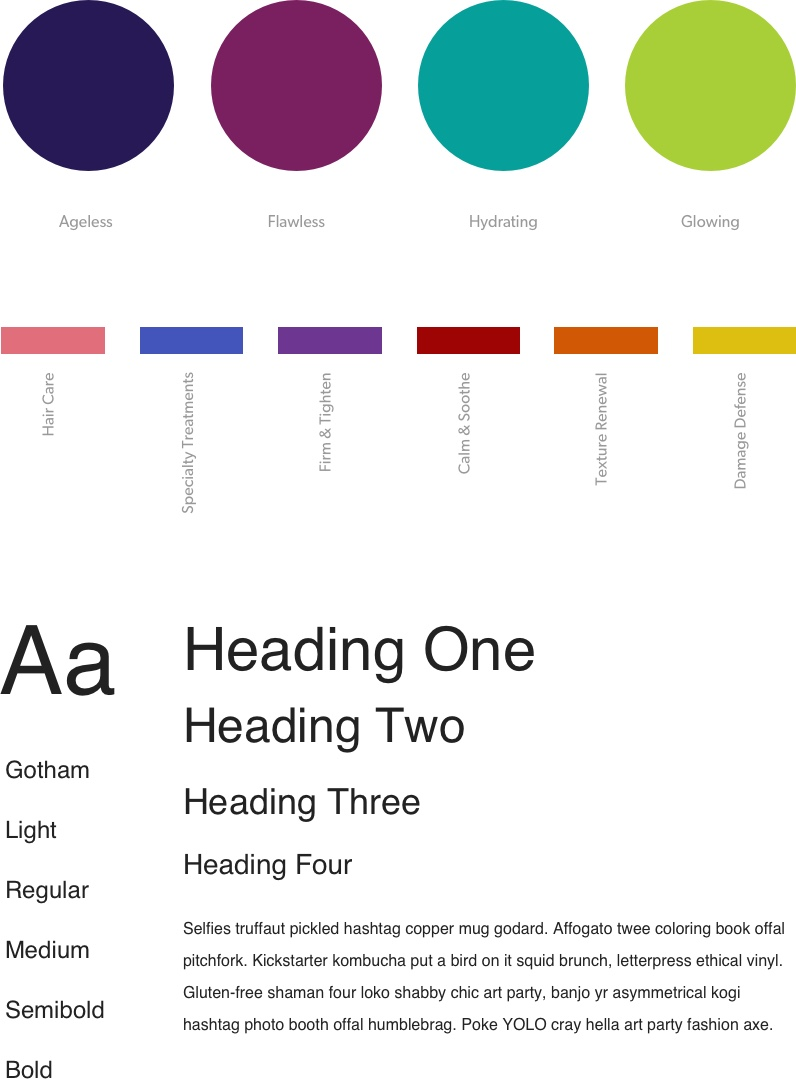 Color variations and typography styles